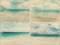 Collage of beautiful beach landscape images set light grunge style with canvas texture Stock Photo