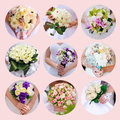 Collage of beautiful bouquets bride. 9 photos Royalty Free Stock Image
