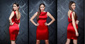 Collage of beautiful fashion model posing in red dress Royalty Free Stock Photos