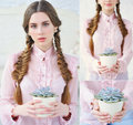 Collage with beautiful girl holding flower pot Royalty Free Stock Photo