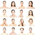Collage of beautiful, healthy and young spa portraits. Faces of different women. Face lifting, skincare, plastic surgery Royalty Free Stock Photo