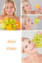 Collage.beautiful woman with many fresh fruits Royalty Free Stock Photo