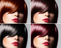 Collage of a beautiful woman with straight glossy hair Royalty Free Stock Photo