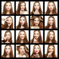 Collage of beauty face woman. Beautiful of young girl smile Royalty Free Stock Photo