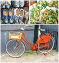 Collage of a bike wooden shoes and tulips in amsterdam hand painted bouquets the netherlands Stock Images