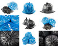 Collage of black and blue garbage bags Royalty Free Stock Photo