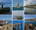 Collage - Boote in adriatischem Meer Lizenzfreie Stockfotos
