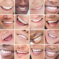 Collage of bright white smiles promoting dental care on background Stock Photo