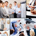 Collage of business interaction Stock Photography