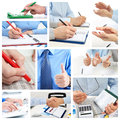 Collage businessmans in the office working with documents Royalty Free Stock Image