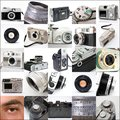 Collage of cameras picture Stock Photo