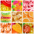 Collage of candy and sweets different colorful Stock Photos