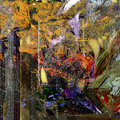 Collage on canvas nice image of a large scale mixed media original oil painting Royalty Free Stock Photos