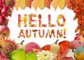 Collage, card, frame with Text: Hello autumn! Royalty Free Stock Photo