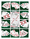 Collage card of poker hands good luck combination five photos combinations plus vertical format photography individual photos Royalty Free Stock Image
