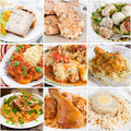 Collage of chicken dishes includes cutlets stew braised in tomato sauce meatballs tajine roast meatloaf galantine Stock Image