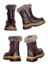 Collage of children s winter boots isolated on white background Royalty Free Stock Photo