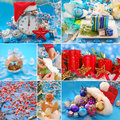 Collage with christmas decorations in red and blue colors Stock Photos
