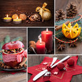 Collage for christmas with food and stills Royalty Free Stock Photo