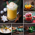 Collage christmas rustic with eggnog Stock Image