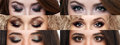 The collage closed and open eyes with different makeup. Bright makeup, cosmetics, mascara, eyeshadow. Beauty and fashion Royalty Free Stock Photo