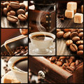 Collage of coffee details. Royalty Free Stock Photo