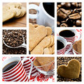 Collage of coffee and heart shaped cookies Royalty Free Stock Images