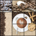 Collage of coffee images various Royalty Free Stock Photography
