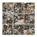Collage of Coins Stock Photos