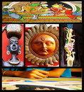 Collage of colorful Asian arts Royalty Free Stock Photos