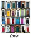 Collage of colorful doors in London