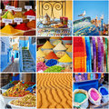 Collage with colorful Moroccan photos Royalty Free Stock Photo