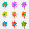 Collage of colorful pinwheels on white background Royalty Free Stock Photo