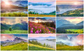 Collage with 9 colorful summer landscapes. Royalty Free Stock Photo