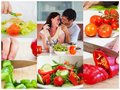 Collage of couple eating healthy salad in the kitchen Stock Photos