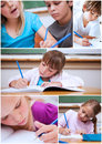 Collage of cute pupils at school Stock Image