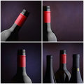 Collage de la botella de vino - cuatro imágenes Foto de archivo