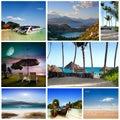 Collage de las imágenes de la playa del verano fondo de la naturaleza y del viaje mis fotos Fotos de archivo libres de regalías