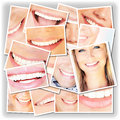 Collage de sourire de visages Images stock