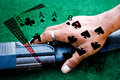 Collage dead mans hand of poker cards the is a two pair black aces and eights plus unknown hole card these were the held by wild Stock Photo