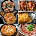 Collage of Italian food menu Royalty Free Stock Photo