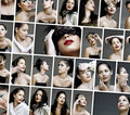 Collage des visages de renivellement de mode de beauté Photo stock