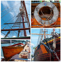 Collage of details of sailing vessels old traditional Royalty Free Stock Image