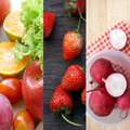 Collage with different fruits and vegetables Royalty Free Stock Photo