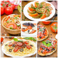 Collage of different italian dishes salads bruschetta and pasta Stock Photos