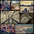 Collage of different locations in venice italy cross processed a some pictures such as small canals the bridge sighs or the grand Royalty Free Stock Images