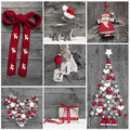 Collage of different red, white and grey christmas decoration on Royalty Free Stock Photo