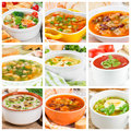 Collage of different soups Royalty Free Stock Photo