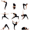 Collage of different yoga poses by pretty woman young Royalty Free Stock Photography
