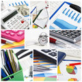 Collage documents in the office graphs charts business table Royalty Free Stock Photos